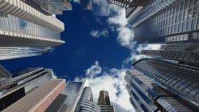 Wolkenkrabbers over blauwe hemel, naadloze lijn royalty-vrije illustratie