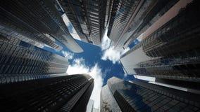 Wolkenkrabbers over blauwe hemel, naadloze lijn stock illustratie