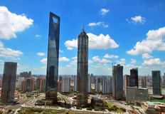 Wolkenkrabbers in Shanghai Royalty-vrije Stock Foto's