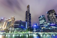 Wolkenkrabbers in Southbank-gebied van Melbourne, Royalty-vrije Stock Foto's