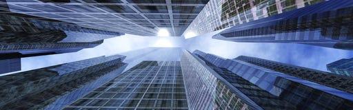 Wolkenkrabbers tegen de hemel Stock Foto