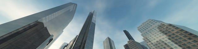 Wolkenkrabbers tegen de hemel Stock Afbeelding