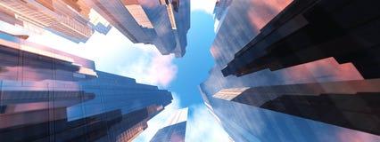 Wolkenkrabbers tegen de hemel Royalty-vrije Stock Fotografie