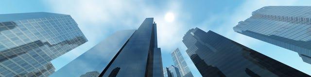 Wolkenkrabbers tegen de hemel Royalty-vrije Stock Foto's