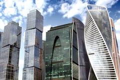 Wolkenkrabbers van commercieel de Stad centrummoskou stock afbeeldingen