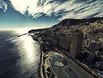Wolkenkrabbers in van de stadsriviera van Monaco Monte Carlo de foto van de de Hommelzomer stock afbeeldingen