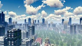Wolkenkrabbers van groot stadspanorama 4K vector illustratie