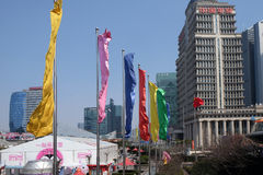 Wolkenkrabbers van het Lujiazui de financiële district in Shanghai Royalty-vrije Stock Afbeeldingen