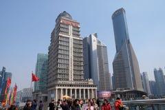 Wolkenkrabbers van het Lujiazui de financiële district in Shanghai Royalty-vrije Stock Foto's