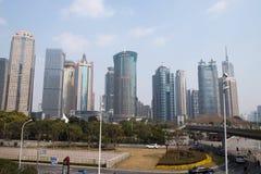 Wolkenkrabbers van het Lujiazui de financiële district in Shanghai Royalty-vrije Stock Fotografie