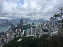 Wolkenkrabbersmening in Hong Kong stock afbeelding