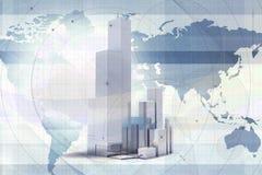 Wolkenkratzer über Weltkarte Stockfoto