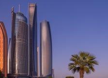 Wolkenkratzer in Abu Dhabi mit einer Palme Lizenzfreies Stockfoto