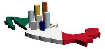 Wolkenkratzer auf Mexiko-Kartenmarkierungsfahne Stockfotografie