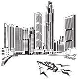 Wolkenkratzer auf Seeküste. lizenzfreie abbildung