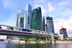 Wolkenkratzer des Moskau-Stadt Geschäftszentrums, Russland Stockfotos