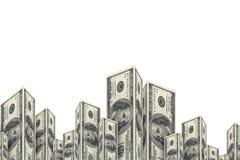 Wolkenkratzer-Gebäude gemacht von den Dollar-Banknoten Stockbild