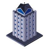 Wolkenkratzer-Geschäftszentrum-Gebäude, Büro, für Real Estate-Broschüren oder Netz-Ikone isometrisch Stockbilder