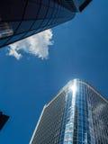 Wolkenkratzer im Finanzbezirk von Frankfurt, Deutschland Stockfoto
