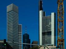Wolkenkratzer im Finanzbezirk von Frankfurt, Deutschland Stockfotos