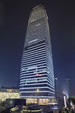 Wolkenkratzer an Lujiazui-Bereich nachts, Shanghai, China Lizenzfreie Stockfotos