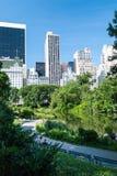 Wolkenkratzer nähern sich Central Park stockfotos