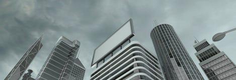 Wolkenkratzer u. Anschlagtafel Stockfotografie