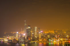Wolkenkratzer und andere Gebäude auf Hong Kong Island in Hong Kong, China, angesehen vom Braemar-Hügel Lizenzfreie Stockfotos