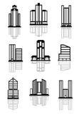 Wolkenkratzer- und Bürogebäudeikonen Lizenzfreie Stockfotos
