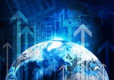 Wolkenkratzer und Erde Hightech- Hintergrund Stockfotos
