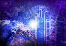 Wolkenkratzer und Erde Hightech- Hintergrund Lizenzfreie Stockbilder