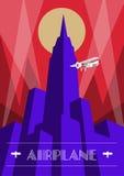 Wolkenkratzer- und Flugzeugplakat in der Art- DecoArt Weinlesereiseillustration Lizenzfreie Stockbilder
