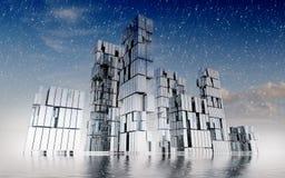 Wolkenkratzergeschäfts-Stadtbild-Konzeptwinterzeit Lizenzfreies Stockbild