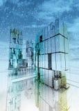 Wolkenkratzergeschäftsstadt-Konzeptwinter Lizenzfreies Stockbild