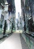 Wolkenkratzergeschäftsstraßen-Winterkonzept Stockfotografie