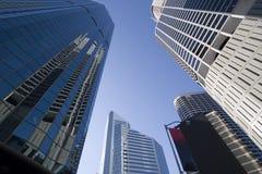 Wolkenkratzerperspektive stockfotos