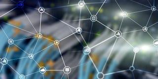 Wolkenmededelingen Internet-Technologieconcept op de vage achtergrond van de serverruimte vector illustratie