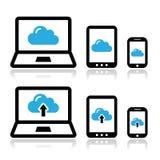 Wolkennetwerk op laptop, tablet, geplaatste smartphonepictogrammen Stock Fotografie