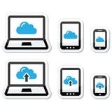 Wolkennetwerk op laptop, tablet, geplaatste smartphonepictogrammen Royalty-vrije Stock Foto's