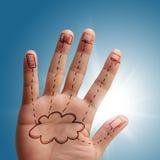 Wolkennetz in der Hand stockfotos