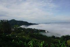 Wolkenoverzees, mist, wereldsprookjesland stock foto's