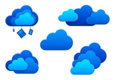 Wolkenpictogrammen. Geïsoleerd. Wolk het concept van het gegevensverwerkingsidee. royalty-vrije illustratie