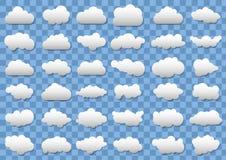 Wolkenpictogrammen op transparante blauwe achtergrond 36 verschillende vectorwolken Vector wolken Royalty-vrije Stock Foto's