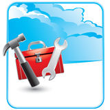 Wolkenreklameanzeige mit Werkzeugkasten und Hilfsmitteln Lizenzfreies Stockfoto