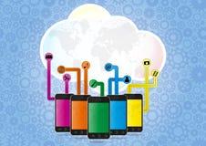 Wolkensmartphone Royalty-vrije Stock Afbeeldingen