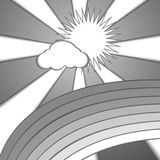 Wolkensonnen- und -regenbogenpapierarthintergrund Lizenzfreie Stockfotografie
