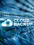Wolkensteun Het verliespreventie van servergegevens Abstracte achtergrond met slot en regeling royalty-vrije stock afbeelding