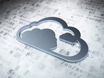 Wolkentechnologiekonzept: Silberne Wolke auf digitalem Hintergrund Lizenzfreies Stockbild