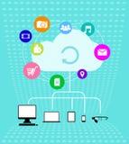 Wolkentechnologien - Infographics-Illustration Stockfotografie