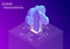 Wolkenumwandlung und Digital-Analog-Wandlung Konzept isometrische Illustration des Vektors 3d mit sich hin- und herbewegenden Pfe lizenzfreie abbildung